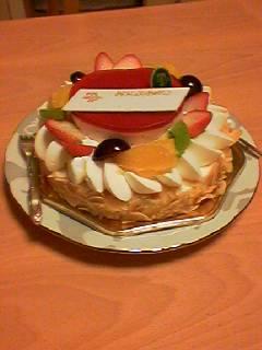 誕生日にケーキ